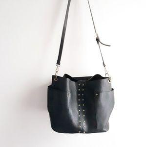 Steve Madden Large Black Studded Shoulder Bag
